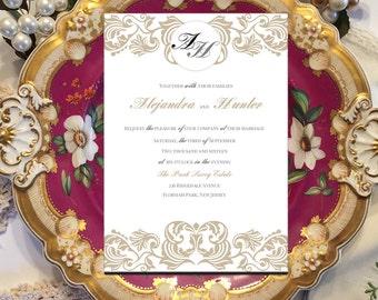 "Printable Monogram DIY Wedding Invitations Template ""Ornate Splendor."" Cheap editable invitation template. Luxury wedding invitations"