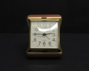 Vintage Seth Thomas Collapsible Travel Alarm Clock with Brown Case (E9854)