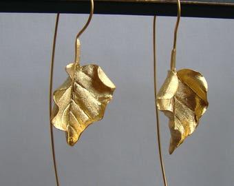 Long Art Modern Sterling Leaves Leaf Earrings