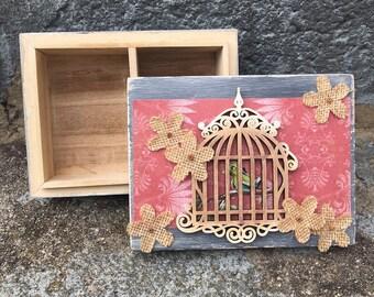 Small Jewelry Box - Caged bird design