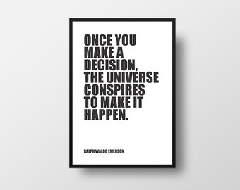 Destiny Quote, Universe, Ralph Waldo Emerson, Motivational Print, Typographic Print, Inspirational Poster, Literary Poster, Literary