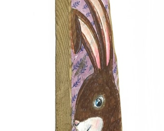Woodland Rabbit Painting on Reclaimed Wood-Personalize and Adopt This Original Art Item-Bunny Rabbit Home Decor OOAK Mangoseed
