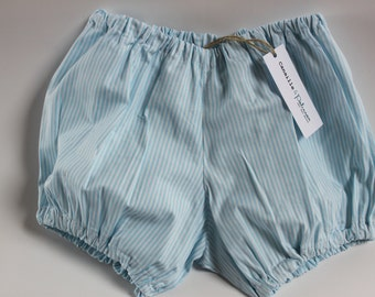 Baby bloomers / / blue and white striped cotton