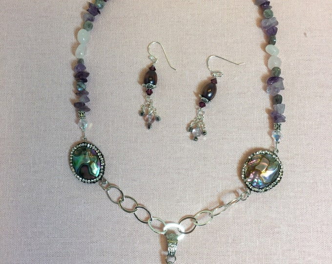 Hippie Chick with Benefits necklace featuring amethyst and abalone