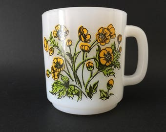 Vintage Glasbake Language of Flowers Buttercup Milk Glass Mug