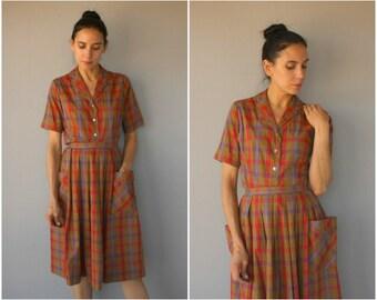 Vintage 1950s 2 Piece Skirt Set • 50s Plaid Dress • 1950s Day Dress • 1950s Cotton Dress • 1950s Dress • 50s Blouse and Skirt Set  -(medium)