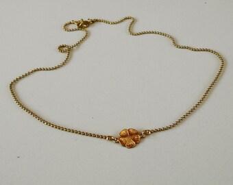 Necklace Flower Link Raw Brass