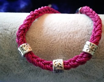 Bracelet, maroon nylon crochet thread