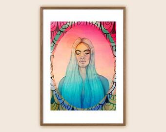 "Surf Art Print - Sea Art - Beach Art - Ocean Art - Sea Maiden - Mermaid - ""Hypnopompia on a Thursday Morning"""