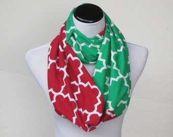 Red Green Scarf Colorblock infinity scarf, Quatrefoil scarf, Christmas scarf soft jersey knit loop scarf, circle scarf gift for Christmas