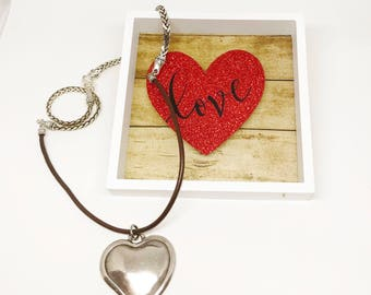 Heart Necklace, Valentine Gift for Her, Heart Jewelry, Leather Necklace, Valentine Heart