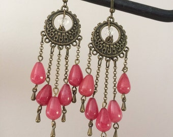 red glass bead pierced earrings
