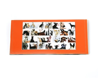 Collage of greyhounds photo checkbook cover - faux leather in orange