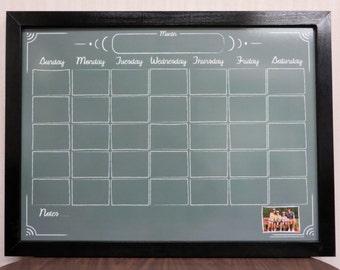 "Green ""Chalkboard"" Style Whiteboard Calendar - Framed Dry Erase Wall Calendar - Personalized Dry Erase Calendar Board"