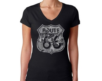 Women's V-neck T-Shirt - Popular Roadside Attractions & Stops Along Route 66