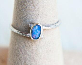 Ethiopian Opal Sterling Silver Swirl Ring