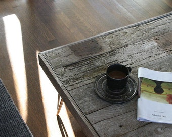 modern rustic industrial wood coffee table, from reclaimed old growth wood and midcentury modern steel hairpin legs