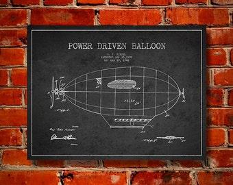 1942 Power Driven Balloon Patent, Canvas Print, Wall Art, Home Decor, Gift Idea