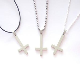 Inverted Cross Pendant With A Choice of Necklace.