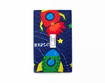 Rocket Light Switch Cover - Space Switch Plate - Childrens Outer Space Room - Rocket Ship Room Decor - Boys Room Decor - Blue Red Green