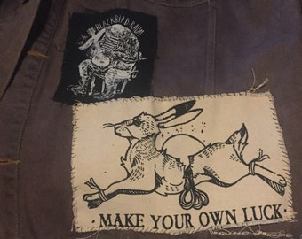 make your own luck patch | screeprinted | folk punk | punk patch | crust punk