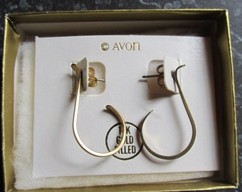 14K Gold Filled Avon Pierced Earrings Modern Scroll 1978 With Original Box