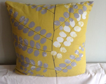 "16"" cushion cover, pillow, pillow case, scatter cushion. Pillow sham, yellow, grey, cream leafed"