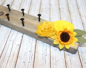Necklace Hanger / Necklace Organizer / Jewelry Organizer / Wall Mount Necklace Holder / Sunflowers / Rustic Necklace Holder / Necklace Rack