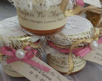 Lace Wedding Jam Favors/Ribbon and Pearl embellished favors / 1.5 oz/  50 Wedding Jam Favors