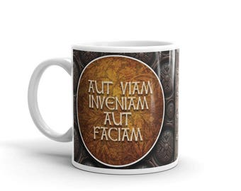 """Latin Steampunk Mug - """"I will either find a way or make one"""""""