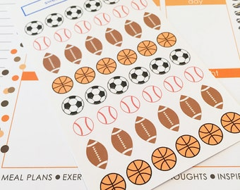 48 assorties Sports balle Stickers - Football, Basketball, Baseball, Soccer-parfait dans votre planificateur Erin Condren, calendrier ou scrapbook