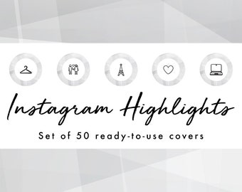 Instagram Story Highlight Icons - 50 Gray Geometric Covers | Fashion, Beauty, Lifestyle, Decor, Craft, Handmade, Bloggers, Influencers