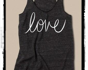 LOVE cursive Girls Heathered Tank Top Shirt screenprint Alternative Apparel
