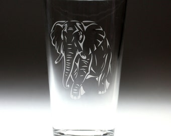 Custom personalized Elephant engraved glass