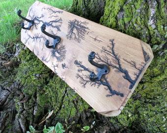 "Wood Coat Rack, Lightning Wood, Lichtenberg Fractal Art, 20 7/8"" x 6 7/8"", Metal Hooks, 3 Hook Coat Rack, One of a Kind Hanging Coat Rack"