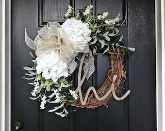Exceptional Summer Wreath, Olive Branch Wreath, White Hydrangea Wreath, Year Round  Wreath, Hi