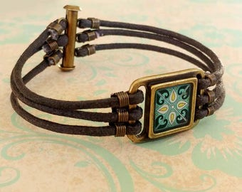 Spanish Tile Bracelet, Shades of Blue, on Gold-Plated Brass and Brown Waxed Cotton Cord Wanderluster