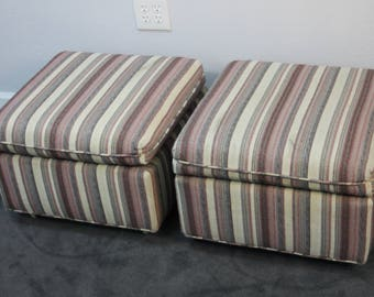 PAIR of Mid Century Rolling Square Ottomans