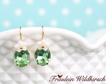 fine ear dangles with white flowers and green oval glass stone jewels in gold plated setting vintage