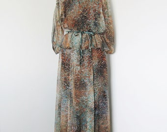 70's Grecian Silk Chiffon Long Maxi Dress / Vintage 1970's Formal Dress,  Spotted Print /  Custom or Couture Gown / Medium