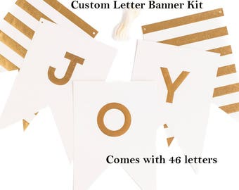 White & Gold Custom Letter Banner Kit | Custom Party Banner Personalized Birthday Banner Bachelorette Party Gold Wedding Name Banner A-Z