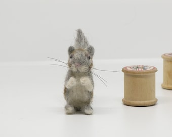 Needle Felted Squirrel Miniature Animal by Loosemoosey
