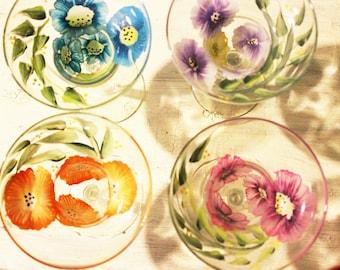 Hand Painted Margarita Glasses - Margarita Flower Fields Set of (4)