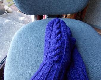 purple ladies cable gloves,  ladies purple aran long mittens,