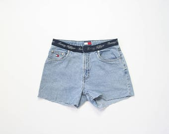 Tommy Hilfiger Spell Out Jean Shorts 90s Denim Cut Off Shorts 1990s Y2K 2000s Mid Rise Summer Jeans 00s Millennium Size 8 Small Medium