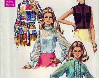 Vintage 1970 Simplicity 8594 UNCUT Sewing Pattern Misses Blouse Size 10 Bust 32-1/2