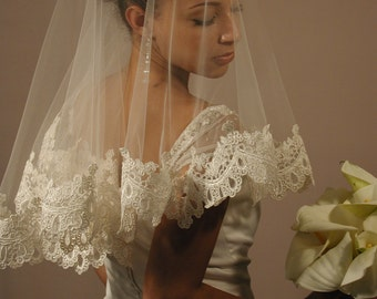 Soft ans Sheer Mantilla wedding veil - mantilla lace veil - bridal lace veil. Made in USA