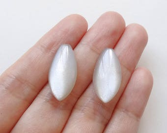 Glowy Silver Beige Moonstone Half Top Drilled Flat Marquise Drops 10x20x6 mm One Pair J7260