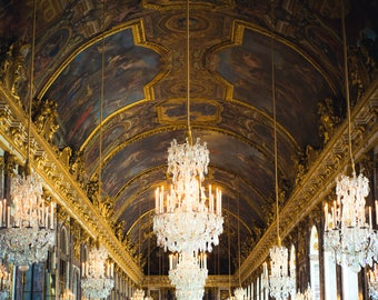 France Photo, French art, Versailles, Hall of Mirrors, Country French decor, Travel Photography, Chandelier art, Gift for Her, Romance