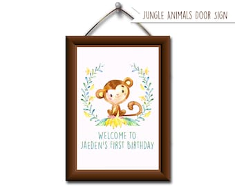 Jungle Animal Welcome Sign. Jungle Birthday Party. Jungle Baby Shower. Jungle Blue